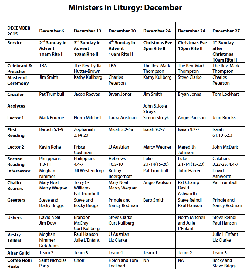 Liturgy Ministers December