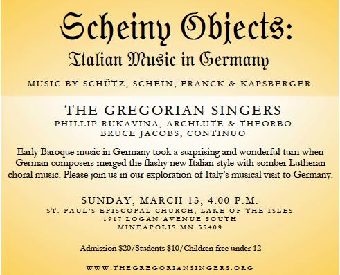 Gregorian Singers: Scheiny Objects (concert)