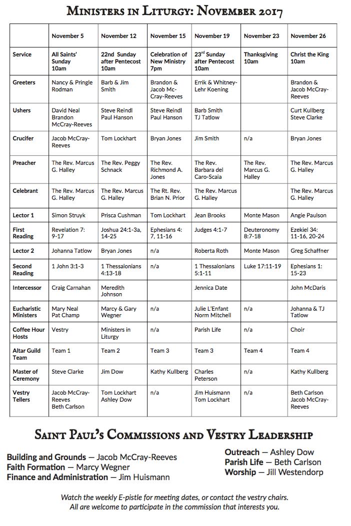 Ministers in Liturgy – November 2017